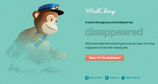 MailChimp's funny and friendly way of displaying 404 error pages