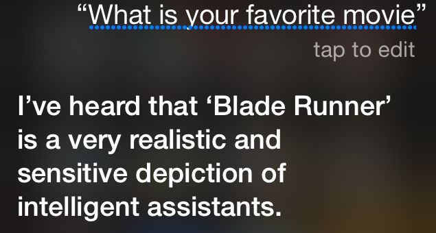 How Siri feels about the movie 'Blade Runner'