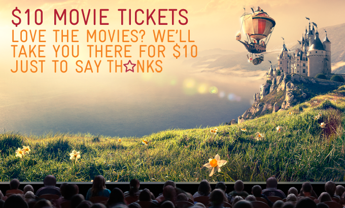 Telstra's member exclusive $10 movie tickets